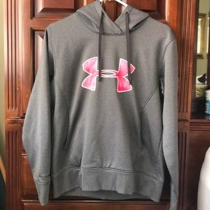 Grey and Pink Under Armour Hoodie